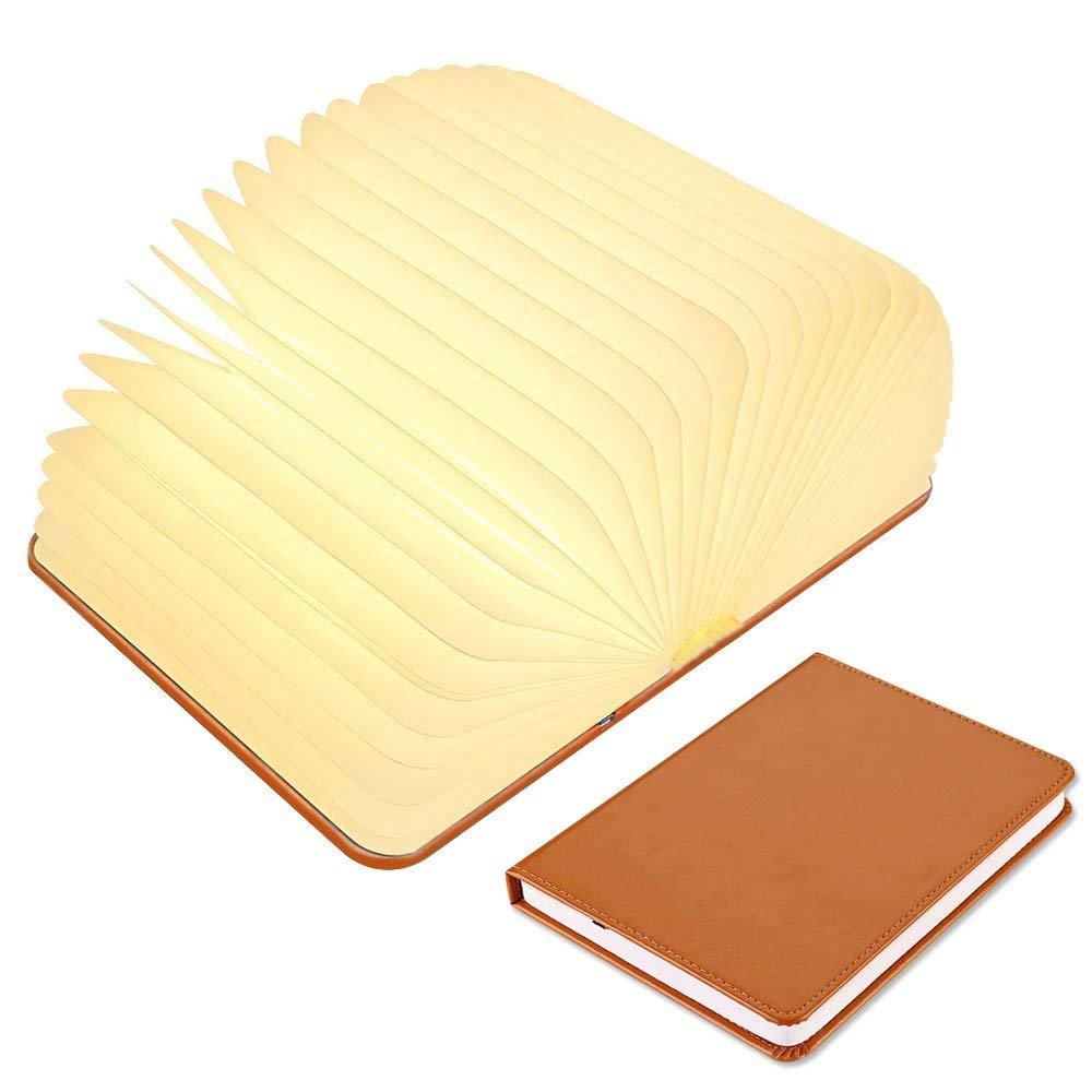 Faltbare Buchlampe, Smiler+ LED-Stimmungsbeleuchtung Atmosphäre Buch-Licht Tischleuchte, USB wiederaufladbare Nachttischlampe Nachtlicht für Dekor, Haus, Büro, Indoor, Outdoor Büro