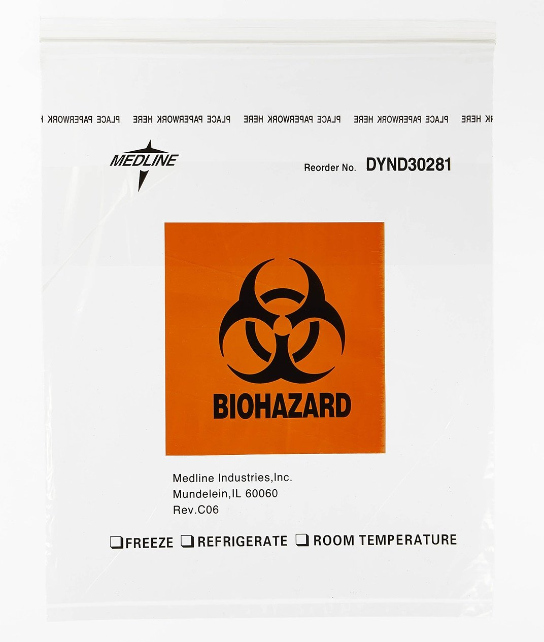 Medline DYND30281 Zip-Style Biohazard Specimen Bags, Plastic, Latex Free, 15'' Length, 12'' Width, Clear (Pack of 500) by Medline