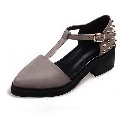 9d003778f9fd21 WeenFashion Women s Buckle PU Low-Heels Solid Pointed Closed Toe Sandals