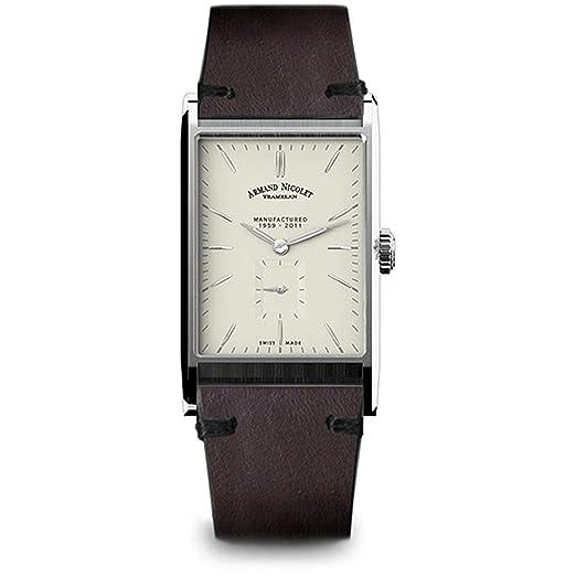 Armand Nicolet L11 Reloj de Hombre Manual Correa de Cuero 9680A-AG-PK4140TM: Amazon.es: Relojes
