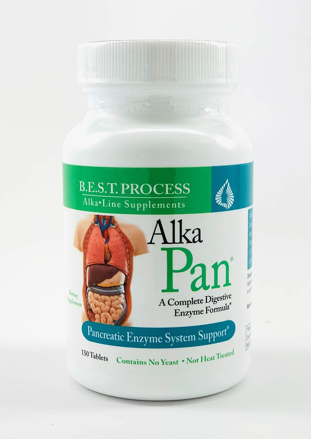 Alka-Pan by Morter HealthSystem B.E.S.T. Process Alkaline Pancreatic Enzymes for Stress Relief Digestive Health with Pancreatin, Papaya, Bromelain, Betaine HCL, Chamomile, Peppermint Anise Seed