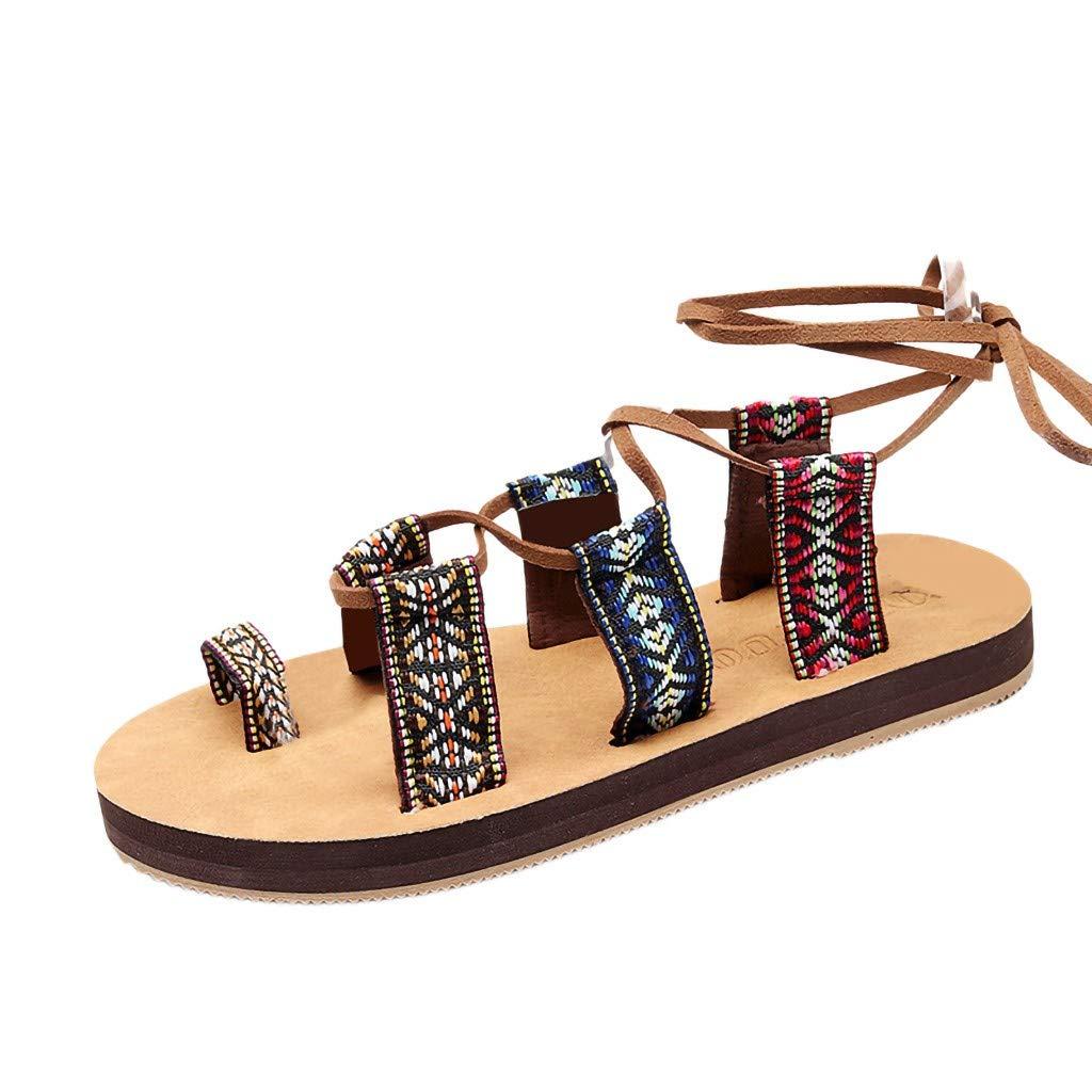 Sunnywill Femme Sandales Bohême Cuir de Gladiateur Sandales Chaussures Plates Sandales Chaussures de Ville Été Chaussures de Plage Romaines Sandales Tongs Sandales