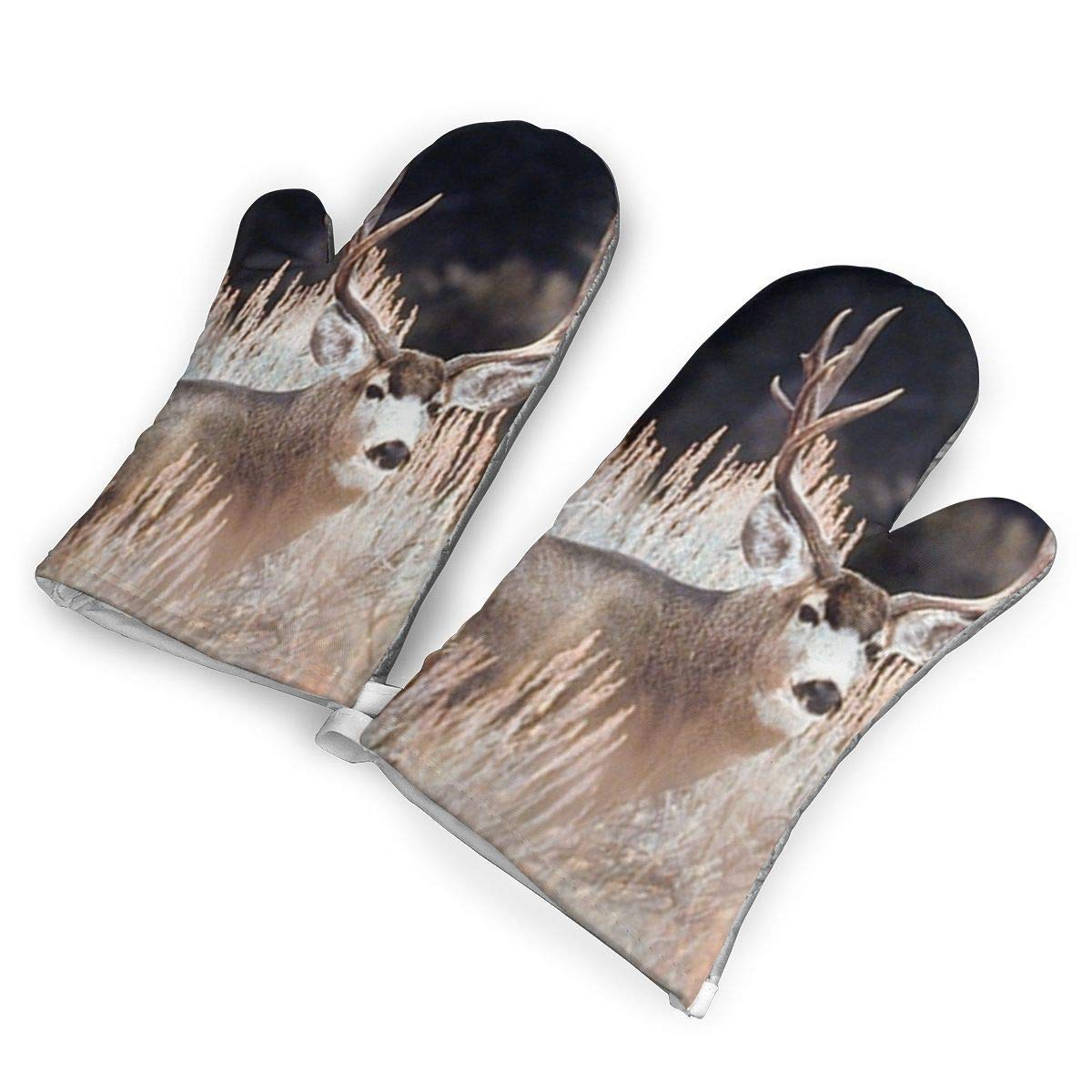VANKINE Large Mule Deer Big Antler Rack Animal Oven Mitts Cooking Gloves 480 F Heat Resistant, Non Slip Grip Pot Holders for Kitchen Oven BBQ Grill and Fire Pits for Cooking Baking