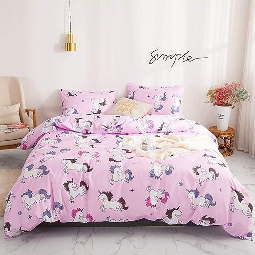 Unicorn Horse Reversible Soft Duvet Quilt Cover Bedding Set Pillowcases All Size