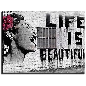Amazon Banksy Graffiti Art Life Is Beautiful Quality Canvas