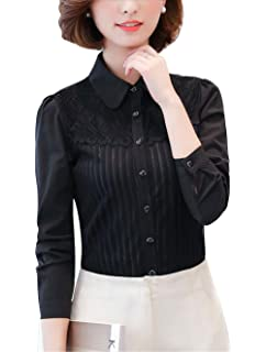 585cd1895 DPO Women's Vintage Collared Pleated Button Down Shirt Long Sleeve Lace  Stretchy Blouse
