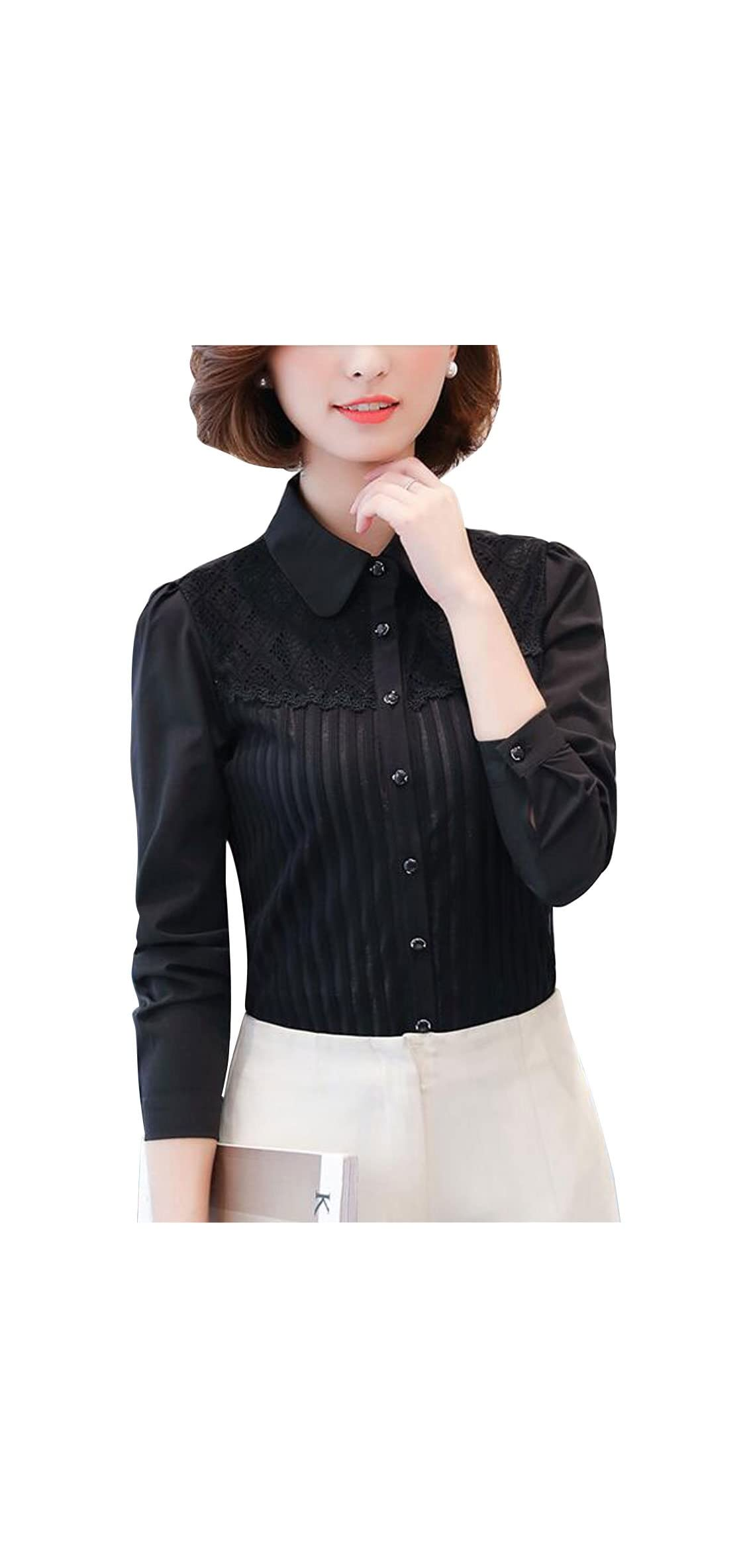 Dpo Women's Vintage Collared Pleated Button Down Shirt Long Lace
