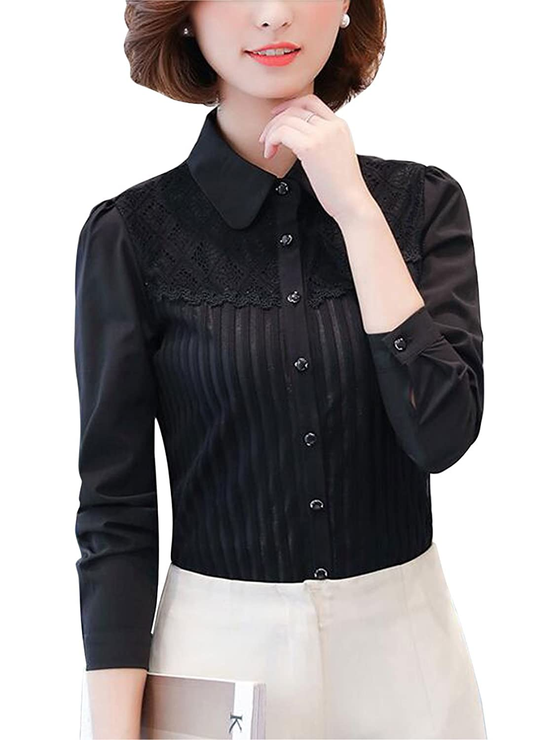 Edwardian Blouses | White & Black Lace Blouses & Sweaters Double Plus Open DPO Womens Vintage Collared Pleated Button Down Shirt Long Sleeve Lace Stretchy Blouse $23.59 AT vintagedancer.com
