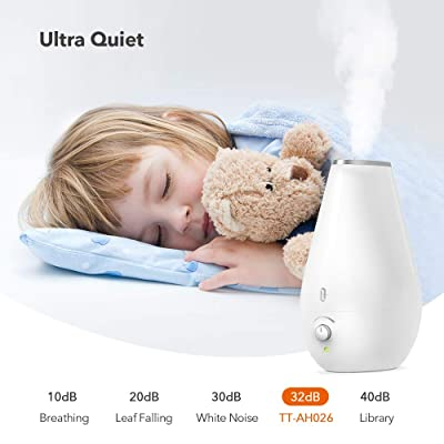 TaoTronics Cool Mist Humidifiers for Babies [BPA Free], Quiet and Small Ultrasonic Humidifier for Bedroom Nightstand, Space-Saving, Filterless, Auto Shut Off-(1.8L/0.48 Gallon, US 110V)