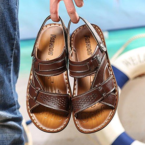 Sommer Das neue Männer Strand Schuh Männer Freizeit Atmungsaktiv Sandalen Mode Echtleder Strand Sandalen ,braun,US=7.5,UK=7,EU=40 2/3,CN=41