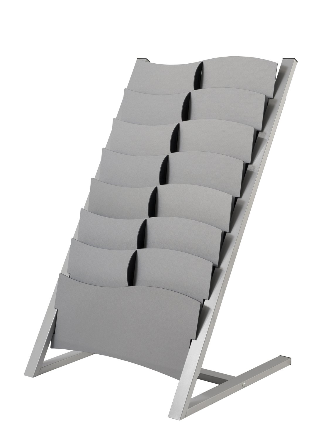 PaperFlow Multi-Sized 7 Compartment Floor Literature Display, Single Sided, 37.4x23x22 Inches, Silver (2860.35)