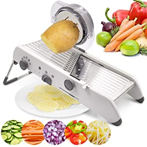 18 Types Adjustable Mandoline Slicer Stainless Steel Manual Cutter Vegetable Grater Julienne Slicer Fruit Waffle Kitchen Potato Cutter White