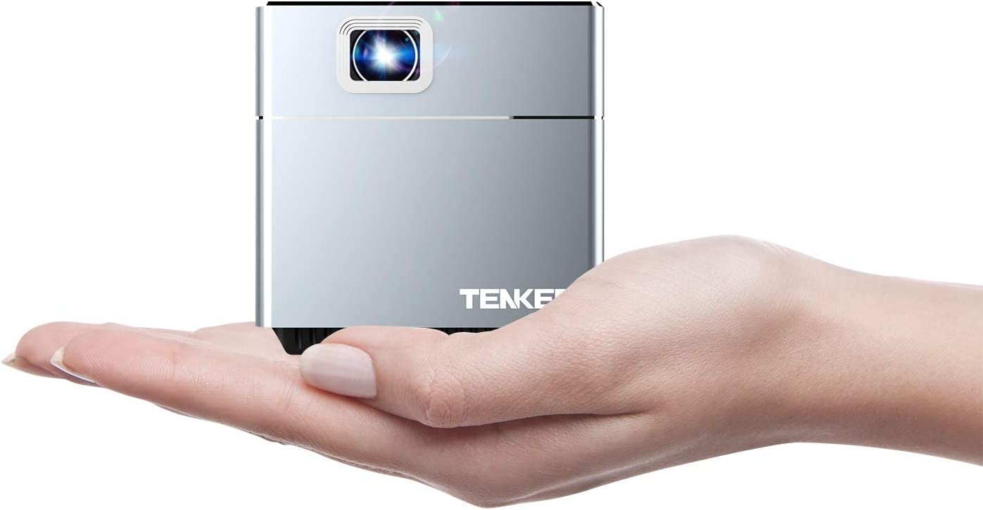 TENKER S6 Mini Cube Pico Projector with Wi-Fi, Smart DLP Projectors for Outdoor Indoor Movies, Includes Mini Tripod, 30,000-Hour Leds, Supports Android and iOS Devices