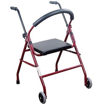 Andador de acero inoxidable rojo Walker plegable con ruedas ...