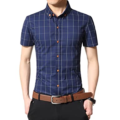 e9b1db208bf Image Unavailable. Image not available for. Colour  Zicac Mens British  Style Slim Fit Cotton Thin Shirt Summer Short Sleeve ...