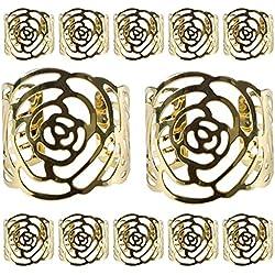 KAKOO Napkin Ring, 12 Pcs Hollow Out Rose Design Metal Napkin Holder for Wedding Party Dinner Table Decor (gold)
