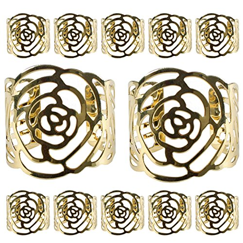 KAKOO Napkin Ring, 12 Pcs Hollow Out Rose Design Metal Napkin Holder for Wedding Party Dinner Table Decor (Gold)