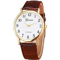 IEason Retro Design Leather Band Analog Alloy Quartz Wrist Watch (Brown)