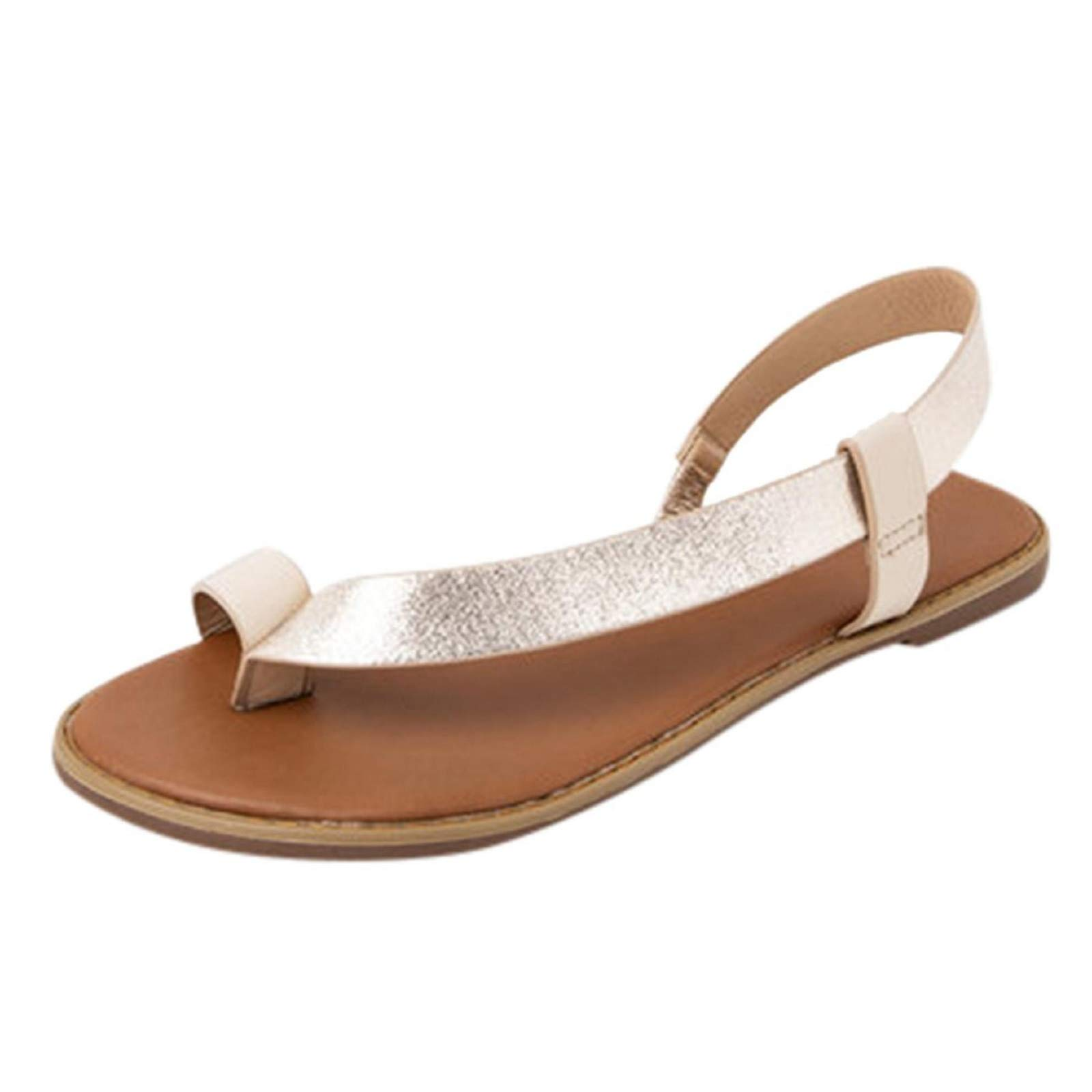 Womens Flip Flop Sandals Toe Ring Flat Sandals Thong Strappy Boho Beach Sandals Gold
