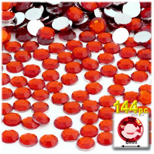 The Crafts Outlet 144-Piece Flat Back Round Rhinestones, 8mm, Ruby Red