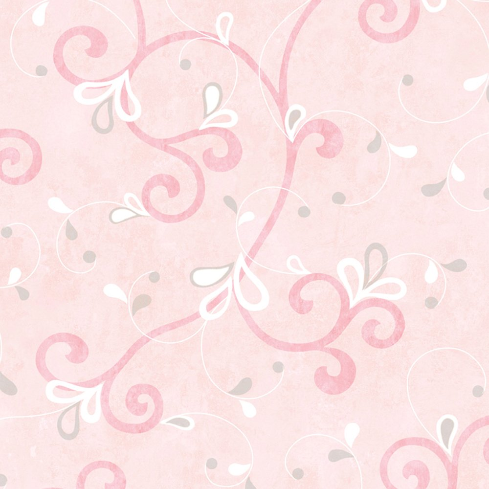 Chesapeake Chr11601 Jada Pink Girly Floral Scroll Wallpaper