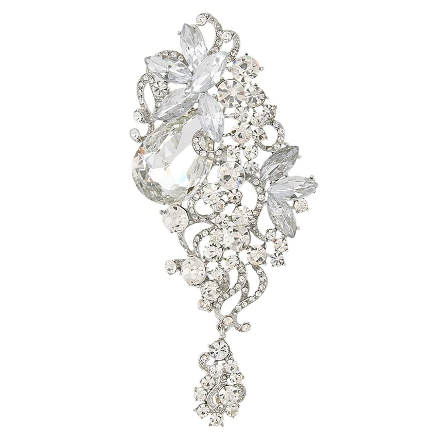 EVER FAITH Austrian Crystal 4.5 Inch Party Floral Vine Waterdrop Brooch Pendant