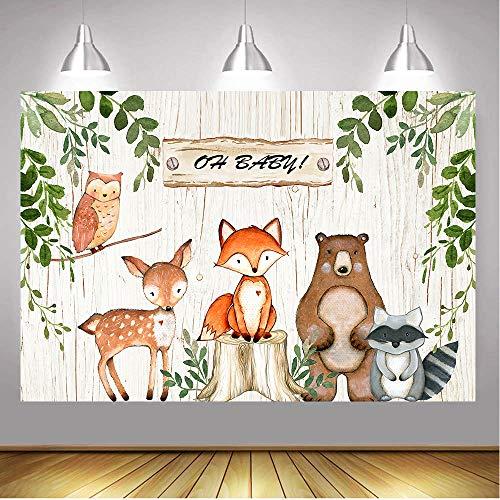 (BoTong 6x4ft Vinyl Woodland Animal Baby Shower Backdrop Woodland Safari Animals Wood Board Photography Background Woodland Creatures Party Banner Backdrops)