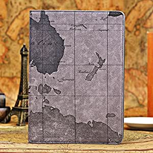 ModernGut Deluxe World Map Grain Flip Case For iPad 5 Air Leather Cover bGeography Type With Stand Function RCD03559