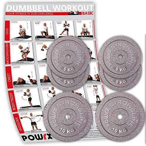 POWRX Discos hierro fundido 40 kg set (2 x 10 kg + 4 x 5 kg ...