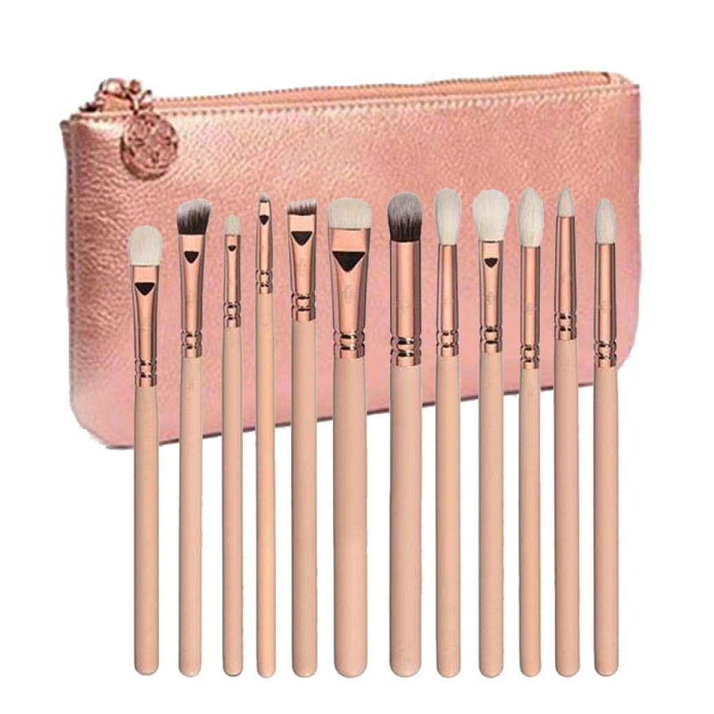 Eyebrow Comb and Brush Makeup Brush Sets for Women Fan Makeup Brushes 12 pcs Rose Gold Makeup Brush Complete Eye Set Tools Powder Blending Brush (Pink)