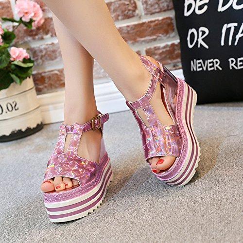inferiore solo impermeabilizzare 13cm di i cavo sandali t spesso summer rosa tacchi GTVERNH bocca scarpe 35 tacchi 11 pesce buckle xw10tPOnXq