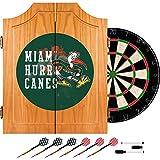 Trademark Gameroom University of Miami Sebastian Wood Dart Cabinet Set - Smoke