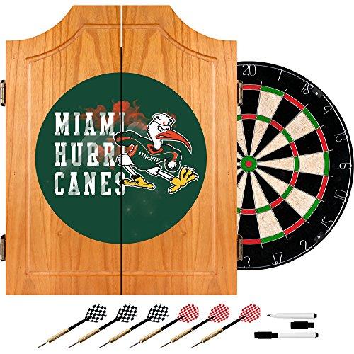 Trademark Gameroom University of Miami Sebastian Wood Dart Cabinet Set - Smoke by Trademark Gameroom