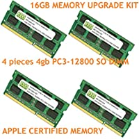 16GB (4 X 4GB) DDR3-1600MHz PC3-12800 SODIMM for Apple iMac 27 Late 2013 Intel Core i7 Quad-Core 3.5GHz 27 ME089LL/A CTO (iMac13,2; 14,2)