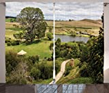 Hobbits Curtains 2 Panel Set by Ambesonne, Overhill Matamata New Zealand Hobbiton Movie Set Hobbit Land Village Movie Set Image, Living Room Bedroom Decor, 108 W X 90 L Inches, Green Brown