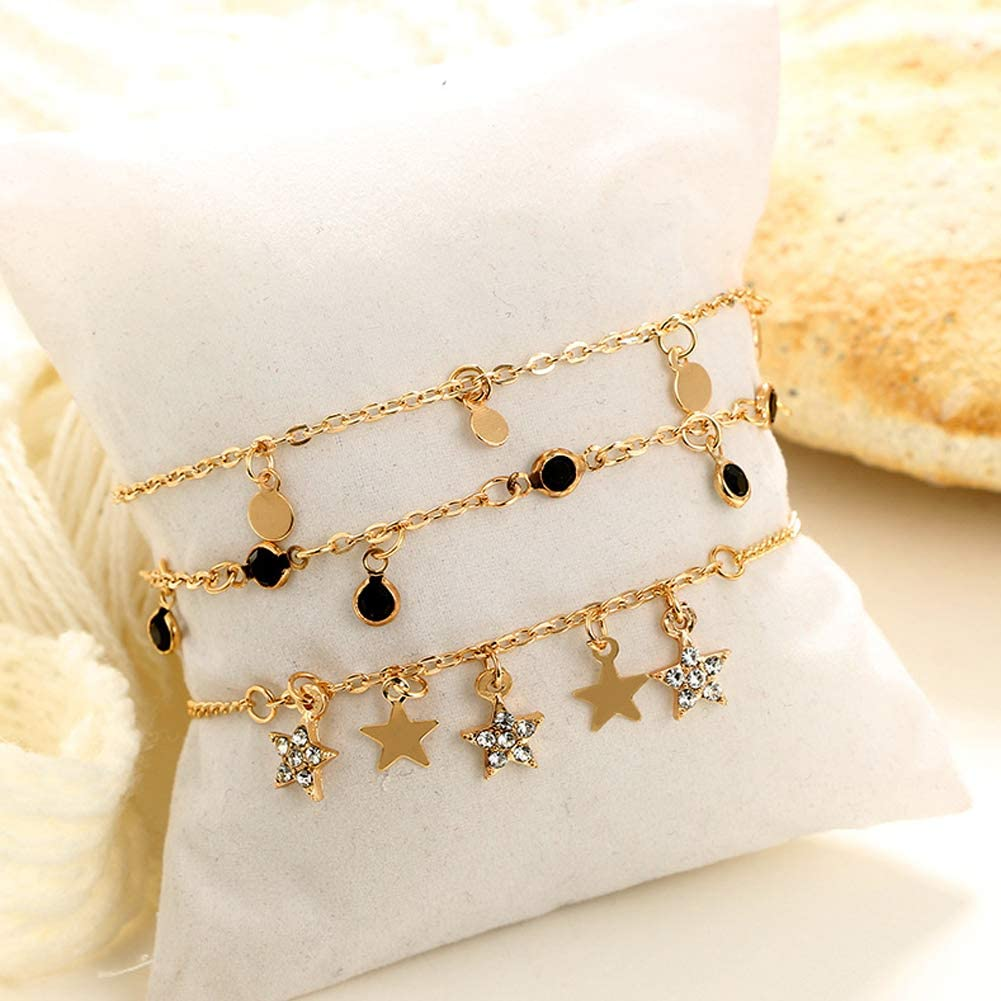 Butterfly Iron Anklets 3Pcs Womens Multilayer Round Tassel Star Rhinestone Anklet Barefoot Jewelry
