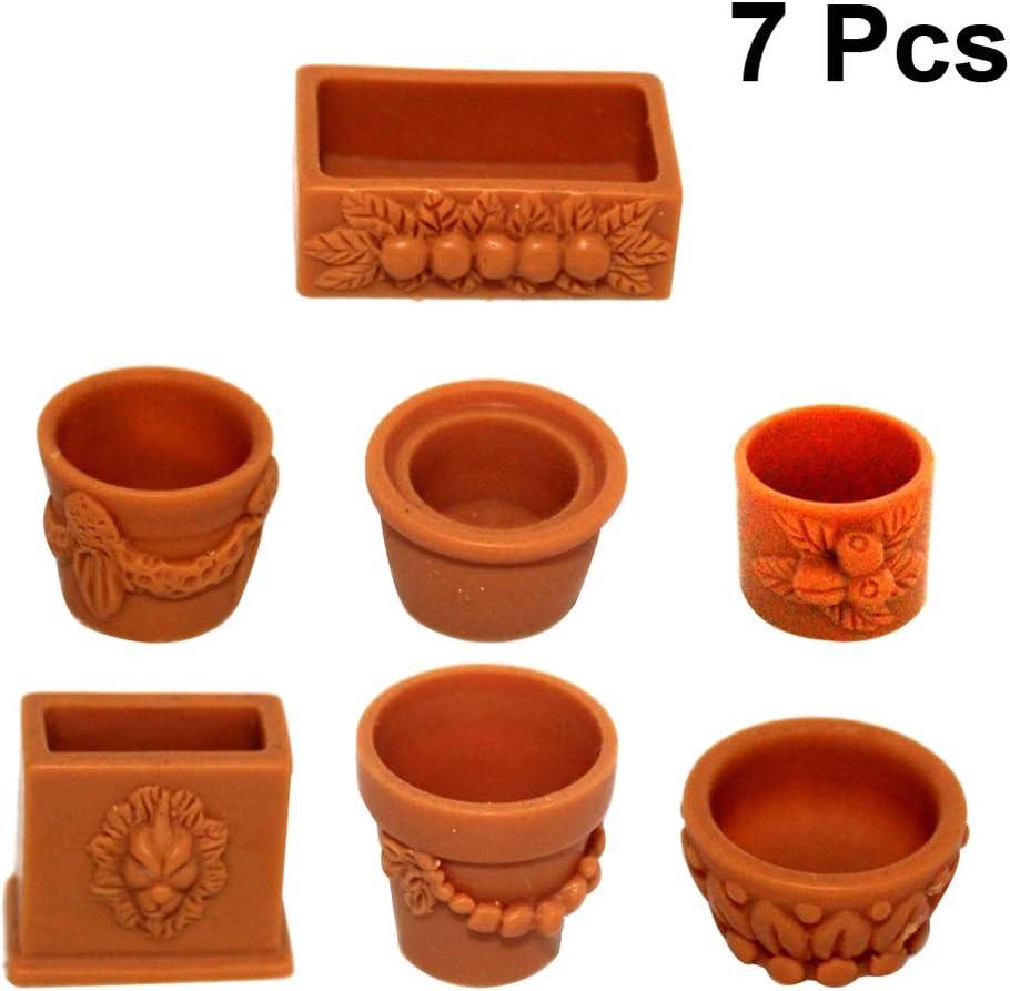SUPVOX 7 Piezas Mini Maceta de Plástico para Muebles de Jardín en Miniatura de Casa de Muñecas Kits de Decoración de Jardín de Hadas Escala 1:12