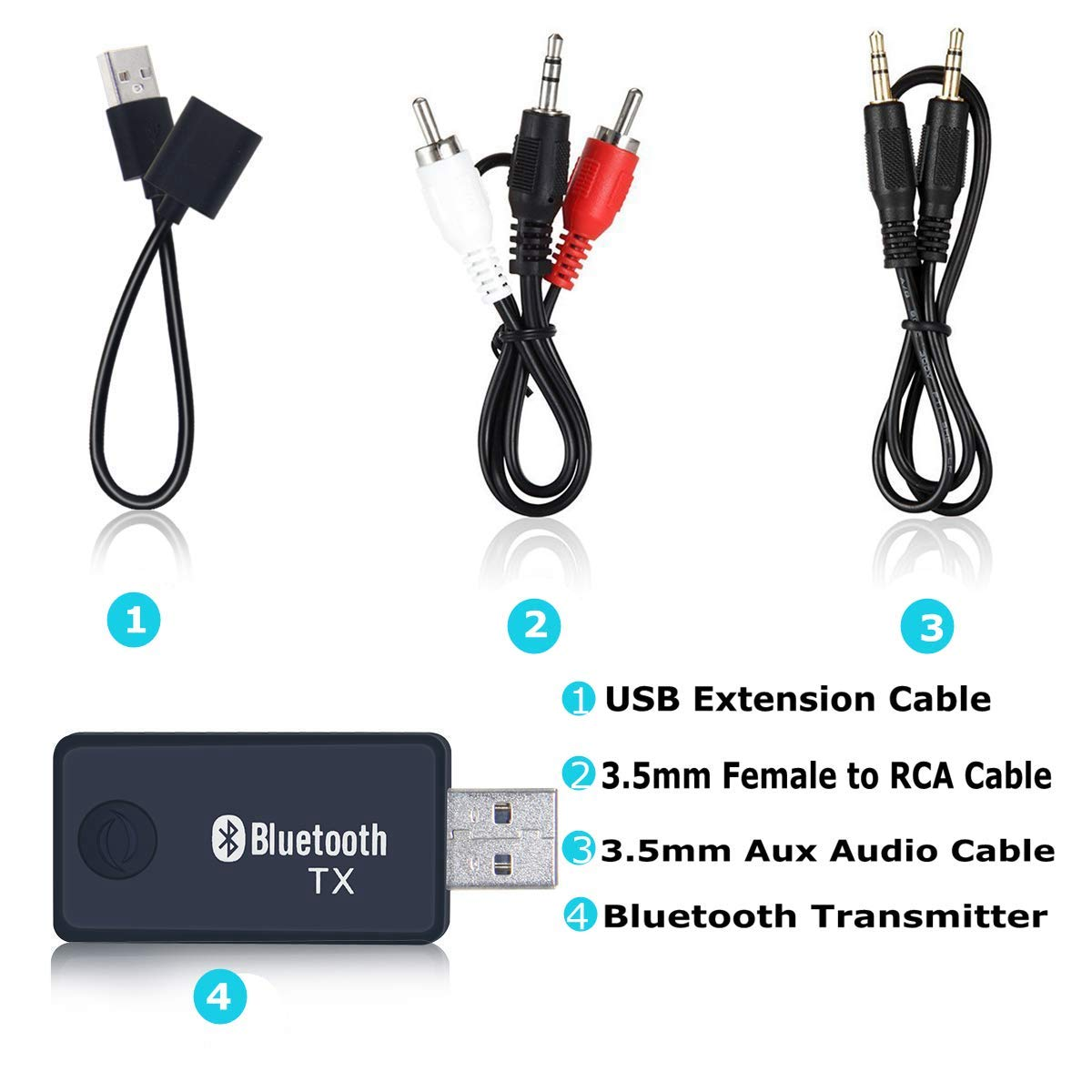 Transmisor Bluetooth USB de 3,5 mm para TV iPod alimentaci/ón por USB MP3//MP4 Enchufe y reproducci/ón Annbrist