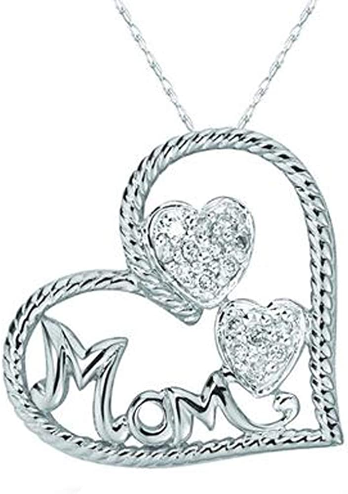 HN Jewels 0.12 Ct Round Cut Sim Diaomnd Heart Mom Pendant With 18 Chain 14K White Gold Plated