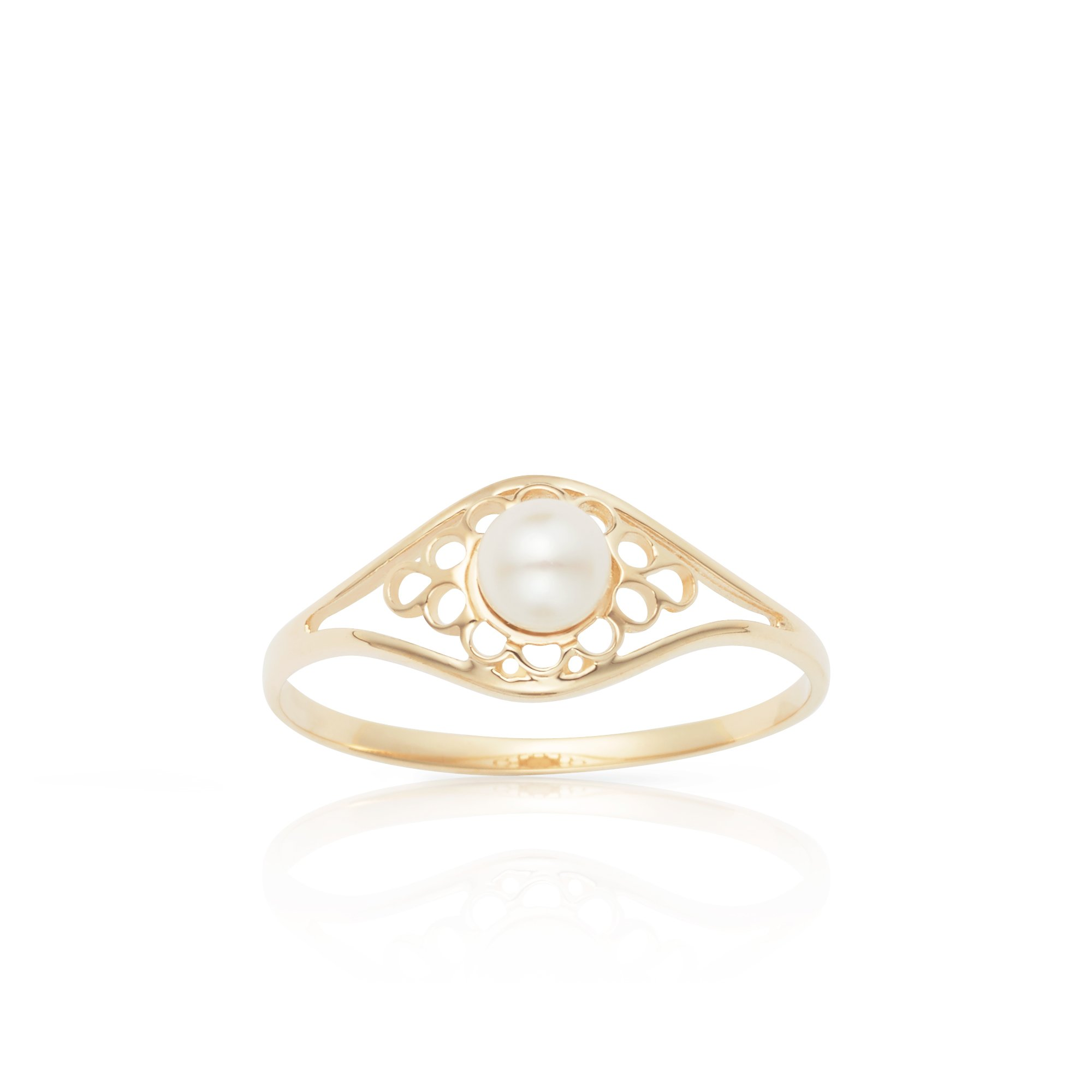 Solid 14k Yellow Gold White Pearl Classic Vintage Style Ring For Women And Girls (10) by Jewel Connection