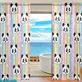 SEULIFE Window Sheer Curtain, Cute Animal Panda Rainbow Star Stripe Voile Curtain Drapes for Door Kitchen Living Room Bedroom 55x78 inches 2 Panels