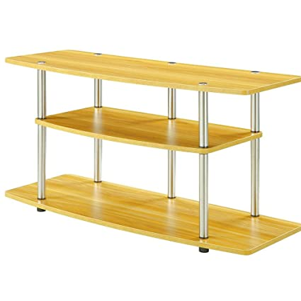 Amazon Com Tv Stand Stainless Steel Wood 3 Tier Oak Natural Large