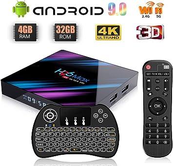 Android 9.0 TV Box 4 K TV Box H96 Max [4 GB RAM + 32 GB