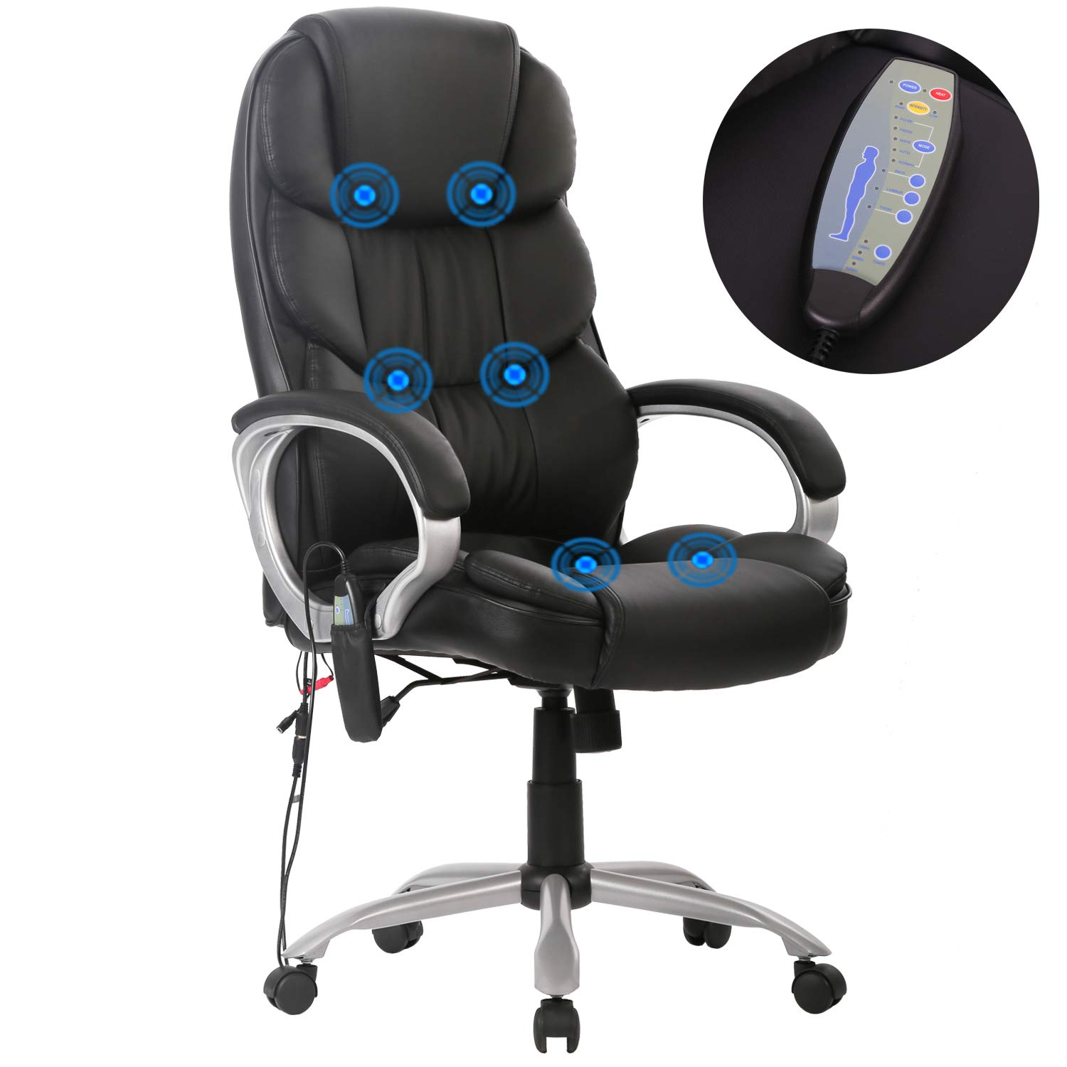 High Back Office Chair Ergonomic Massage Chair Desk PU Leather Computer Chair Task Rolling Swivel Adjustable Stool Executive Chair with Lumbar Support Armrest for Women&Men by BestMassage