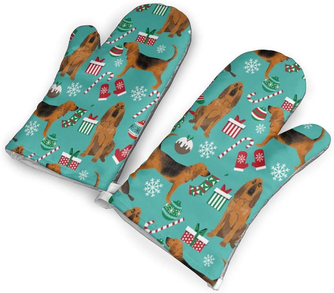 QOQD Bloodhound Fabric and Xmas Oven Mitts with Polyester Fabric Printed Pattern,1 Pair of Heat Resistant Oven Gloves for Cooking,Grilling,Barbecue Potholders