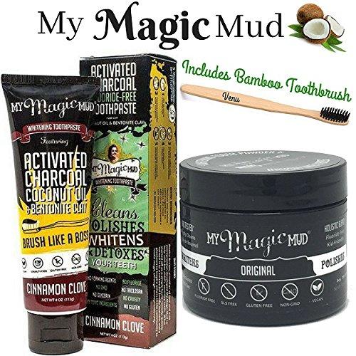 My Magic Mud Activated Charcoal Teeth Whitening Kit 3 in 1 Activated Charcoal Powder, Activated Charcoal Teeth Whitening Toothpaste and Venu Bamboo Toothbrush … (Cinnamon Clove)