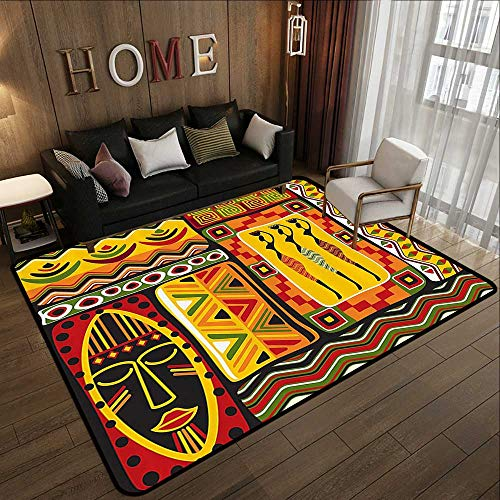 Bathroom mats and Rugs,African Decorations Collection,African Elements Decorative Historical Original Striped and Rectangle Shapes Artsy Work,M 59