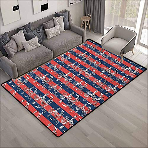 Living Room Area Rug,Anchor Vertical Stripes with Artistic Figures Harbor Seaport Marine Life,Ideal Gift for Children,4'7