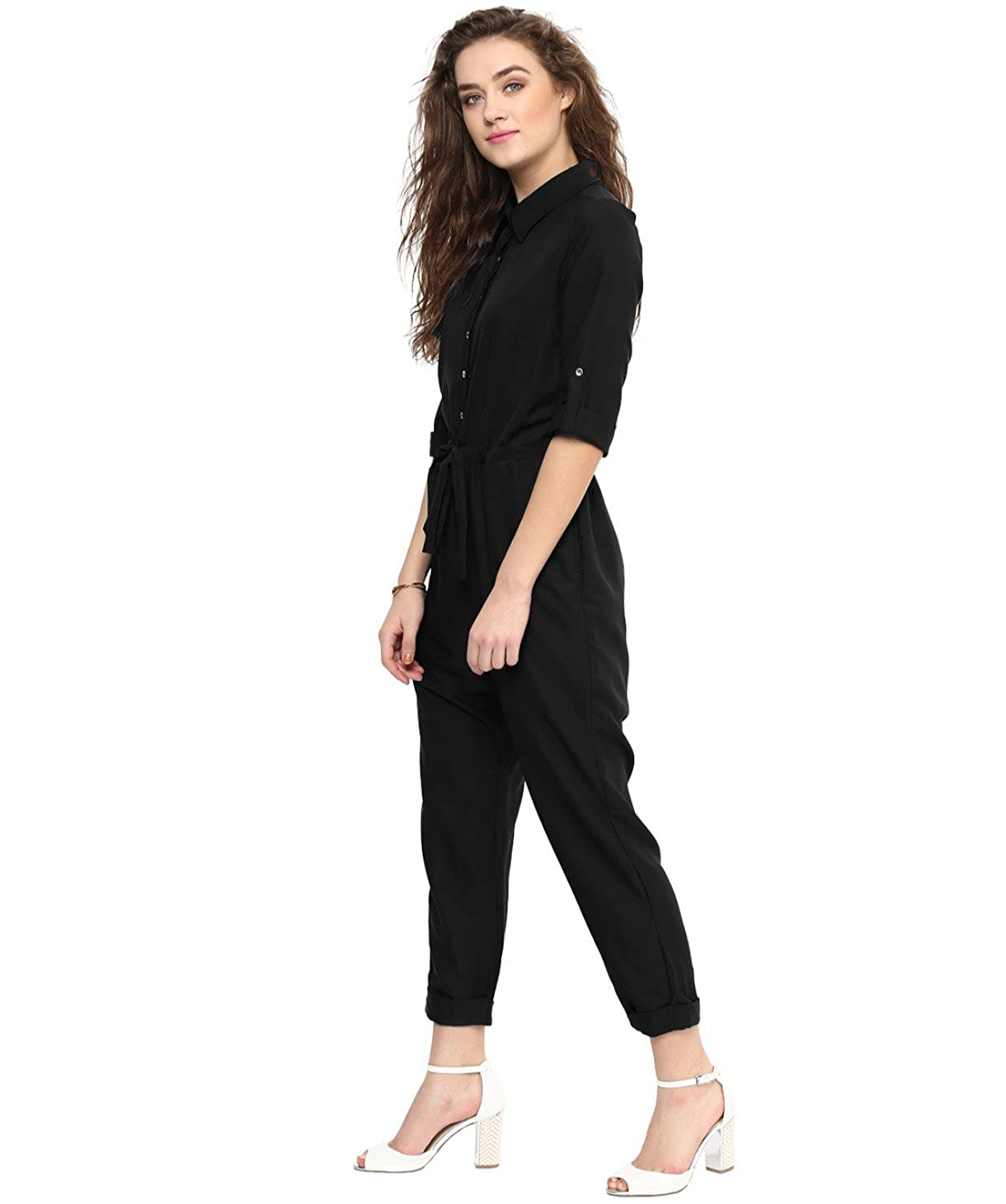 e886bf21b682 Uptownie Lite Women s Crepe Roll Up Jumpsuit  Amazon.in  Clothing    Accessories
