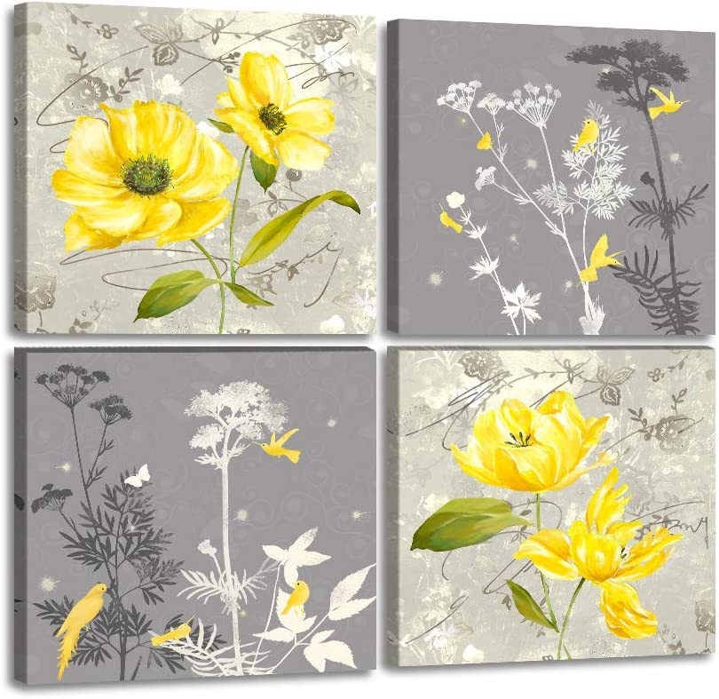 Yellow and Grey Flower Wall Art Canvas Painting 4 Pieces Abstract Floral Wall Decor Yellow Flower Posters Pictures Prints Decor for Bathroom Bedroom Office Home Framed Ready to Hang-12